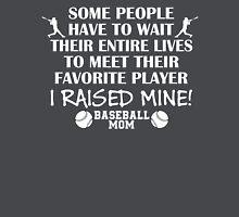 Baseball Mom - I raised my favorite player (White print) Women's Fitted V-Neck T-Shirt