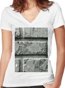 Black and White Brick Wall Women's Fitted V-Neck T-Shirt