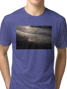 Golden Foam and Pebbles - Early Light at the Breakwater Tri-blend T-Shirt