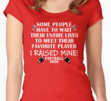 Football Mom - I raised my favorite player (White print) Women's Fitted Scoop T-Shirt