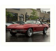 Rainy Day Corvette  Art Print