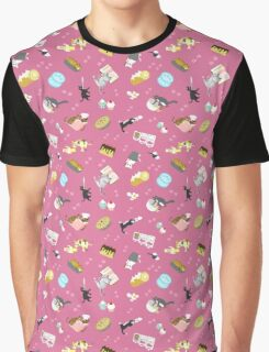 Cats Baking Cakes and other Sweets, in Pink Graphic T-Shirt