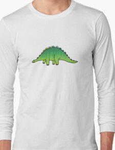 cute green rainbow dinosaur Long Sleeve T-Shirt