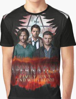 Supernatural Family Dont end with blood Graphic T-Shirt