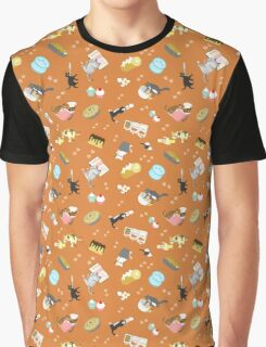 Cats Baking Cakes and other Sweets, in Orange Graphic T-Shirt