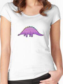 cute purple rainbow dinosaur Women's Fitted Scoop T-Shirt