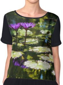 Waterlilies - Sunny Green and Purple Impressions Chiffon Top