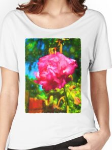 Pink Rose next to the Brick Wall Women's Relaxed Fit T-Shirt