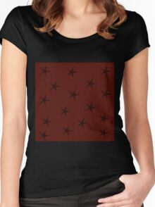 Stars on resty reddish brown Women's Fitted Scoop T-Shirt