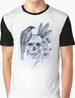 Skull, Bird and Feathers Graphic T-Shirt