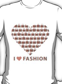 Silhouettes women's handbags in  composition of  heart  T-Shirt