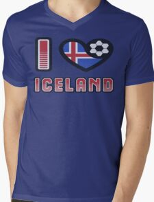 I LOVE ICELAND Football T-Shirt Euro 2016 Mens V-Neck T-Shirt