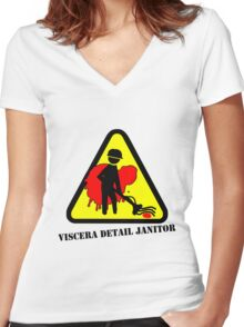 Viscera Cleanup Detail Logo - Janitor Women's Fitted V-Neck T-Shirt