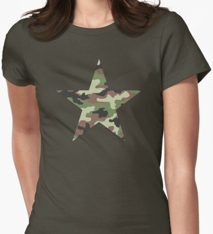 Camouflage Military Star Womens Fitted T-Shirt