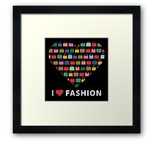 Colorful silhouettes women's handbags in Compositionof heart Framed Print