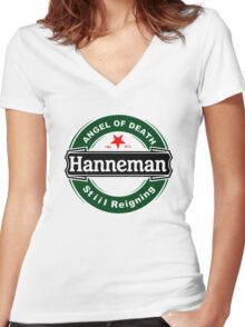 Black Angel Hanneman Women's Fitted V-Neck T-Shirt