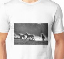 HORSE SILHOUETTES IN BLACK AND WHITE Unisex T-Shirt