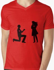 Will you marry me? Silhouettes with hearts Mens V-Neck T-Shirt
