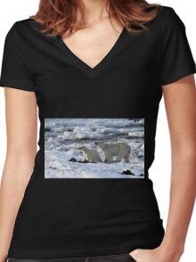 Polar Bear & Cub Tasting the Air, Churchill, Canada Women's Fitted V-Neck T-Shirt