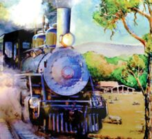 Steam train in OZ outback Sticker
