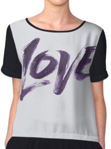 Bold Purple Zen Brush Love Hand Lettering - Fashionable Artistic Calligraphy Word for Valentine Chiffon Top