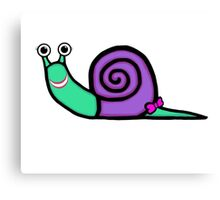 Smiley Girl Snail Canvas Print
