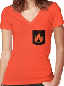 Pokemon Mondern Fire Type Pocket Women's Fitted V-Neck T-Shirt