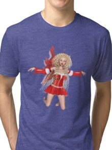 Red Fairy With Golden Curls Tri-blend T-Shirt