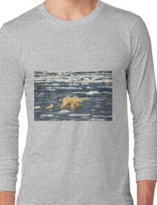 Polar Bears: Mother & Cub Struggling in Hudson Bay, Canada  Long Sleeve T-Shirt