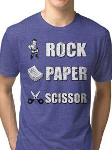 Rock, Paper Scissors ... Dwayne Johnson ??? Tri-blend T-Shirt