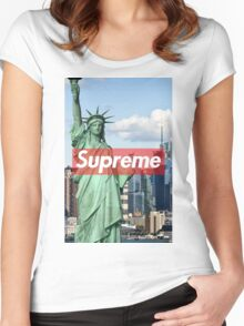 supreme nyc Women's Fitted Scoop T-Shirt