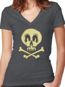 FUNNY SKULL MUSTACHE Women's Fitted V-Neck T-Shirt