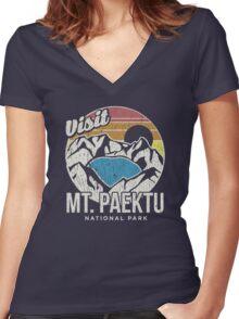 Spirit of Paektu! Women's Fitted V-Neck T-Shirt
