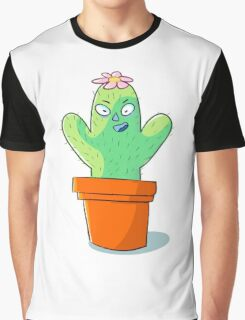 Cynical but Happy Cactus Guy Graphic T-Shirt