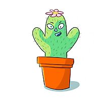 Cynical but Happy Cactus Guy Photographic Print