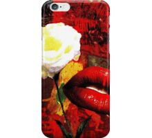 White Rose, Red Lips iPhone Case/Skin