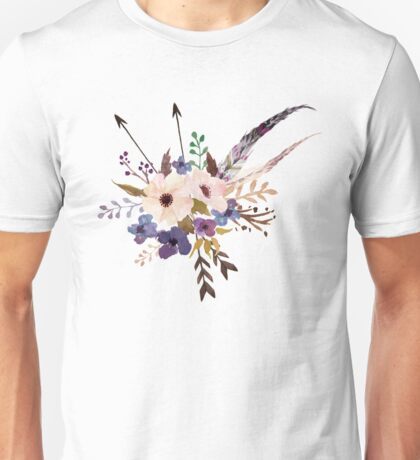 Purple White Watercolor Flower Bouquet Unisex T-Shirt