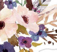 Purple White Watercolor Flower Bouquet Sticker