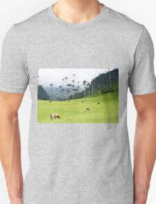 Cows grazing in the green meadows at the Cocora valley Unisex T-Shirt