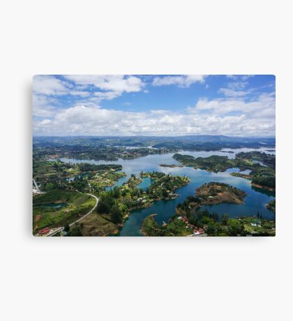 Guatape, Antioquia Department, Colombia. Manmade lake created for hydro-electricity Canvas Print