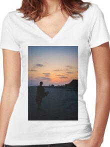 Sunset silhouette Women's Fitted V-Neck T-Shirt