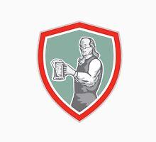 Benjamin Franklin Holding Beer Shield Retro T-Shirt