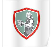 Benjamin Franklin Holding Beer Shield Retro Poster