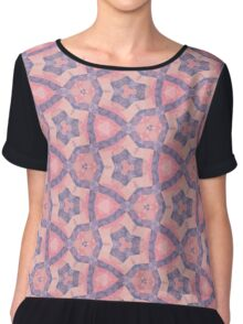 Pink and Purple Seamless Pattern Chiffon Top