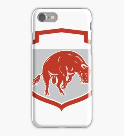 Raging Bull Jumping Attacking Charging Retro iPhone Case/Skin