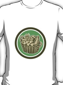 Crop Harvest Basket Circle Retro T-Shirt