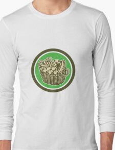 Crop Harvest Basket Circle Retro Long Sleeve T-Shirt