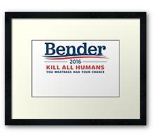 """Bender 2016 """"Kill All Humans"""" White Framed Print"""