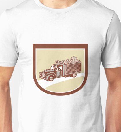 Vintage Pickup Truck Delivery Harvest Shield Retro Unisex T-Shirt