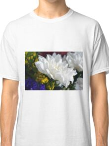 White flower macro, natural background. Classic T-Shirt